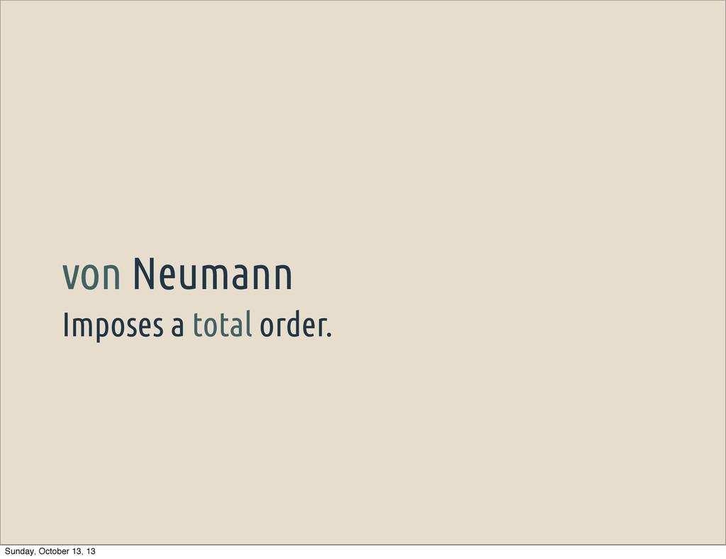 Imposes a total order. von Neumann Sunday, Octo...