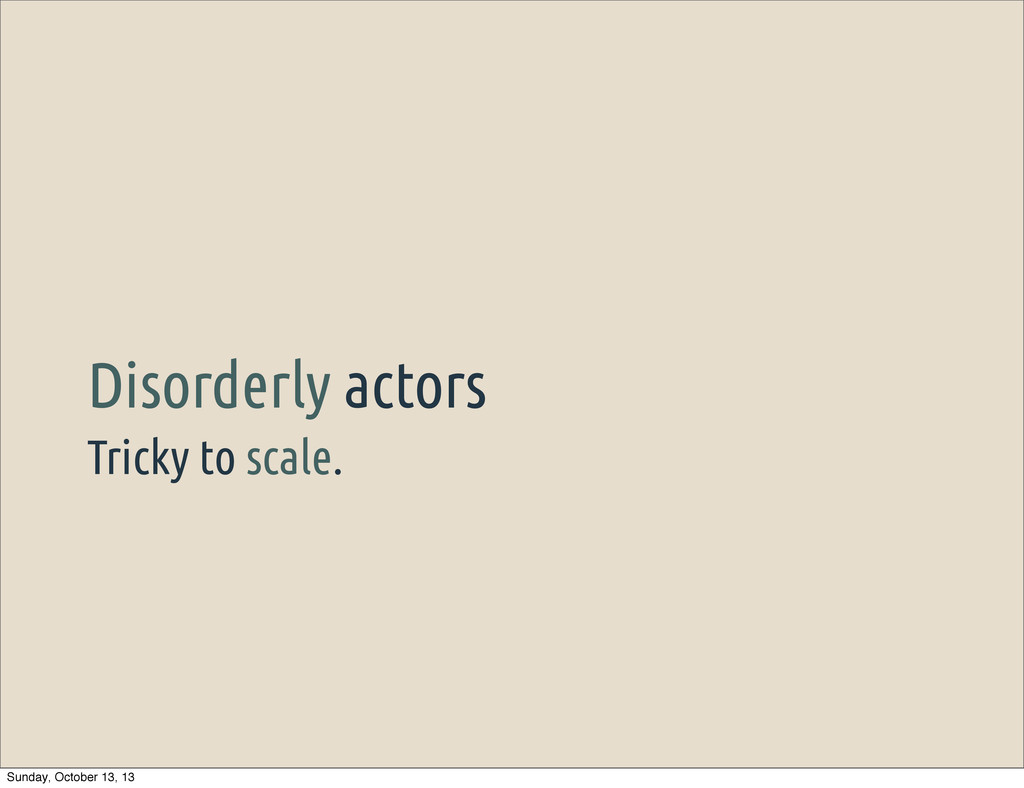 Tricky to scale. Disorderly actors Sunday, Octo...