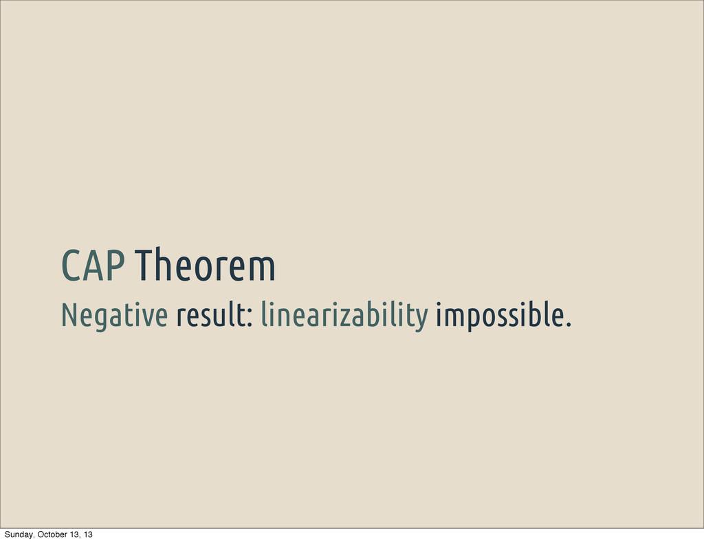 Negative result: linearizability impossible. CA...