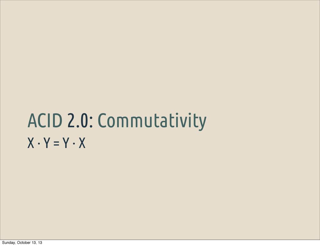 X · Y = Y · X ACID 2.0: Commutativity Sunday, O...