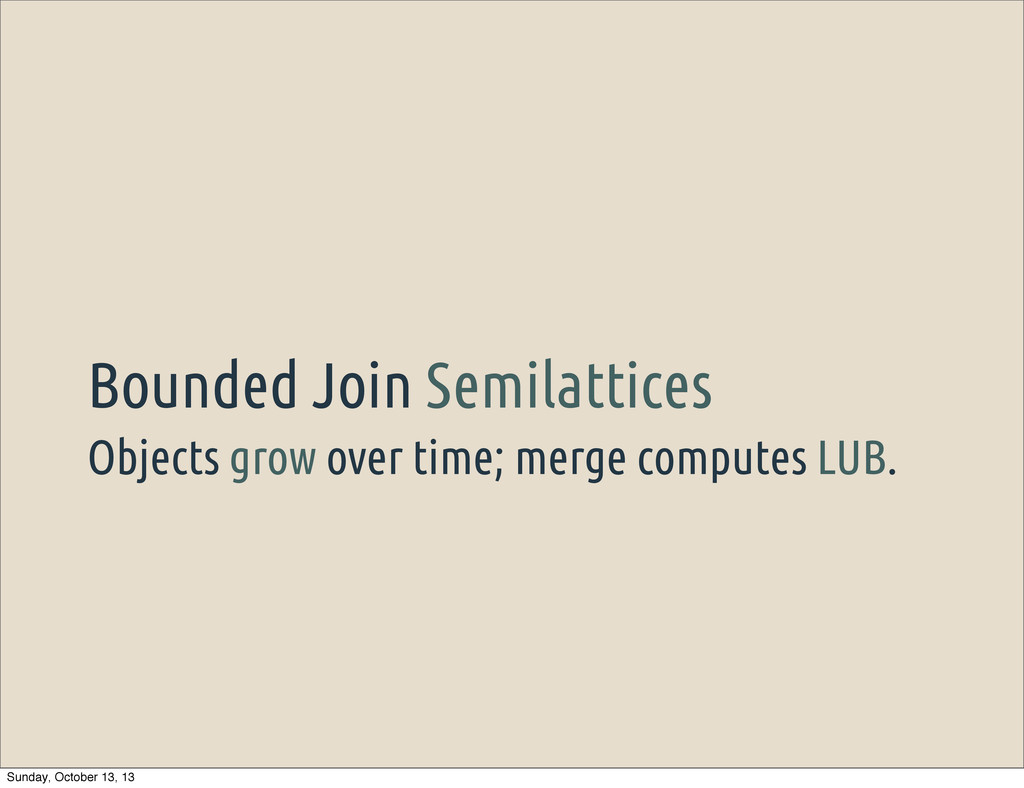 Objects grow over time; merge computes LUB. Bou...