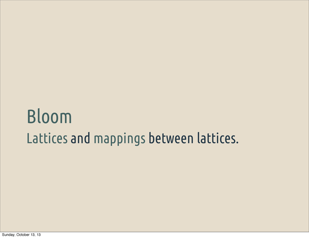 Lattices and mappings between lattices. Bloom S...