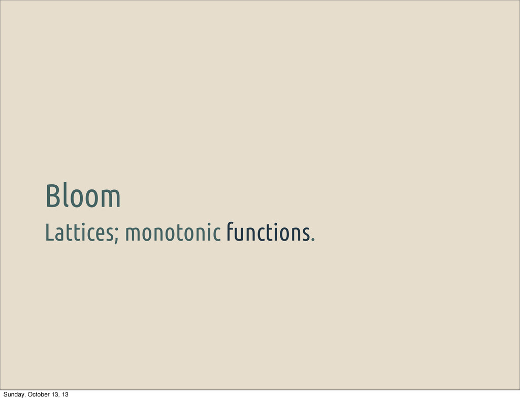 Lattices; monotonic functions. Bloom Sunday, Oc...