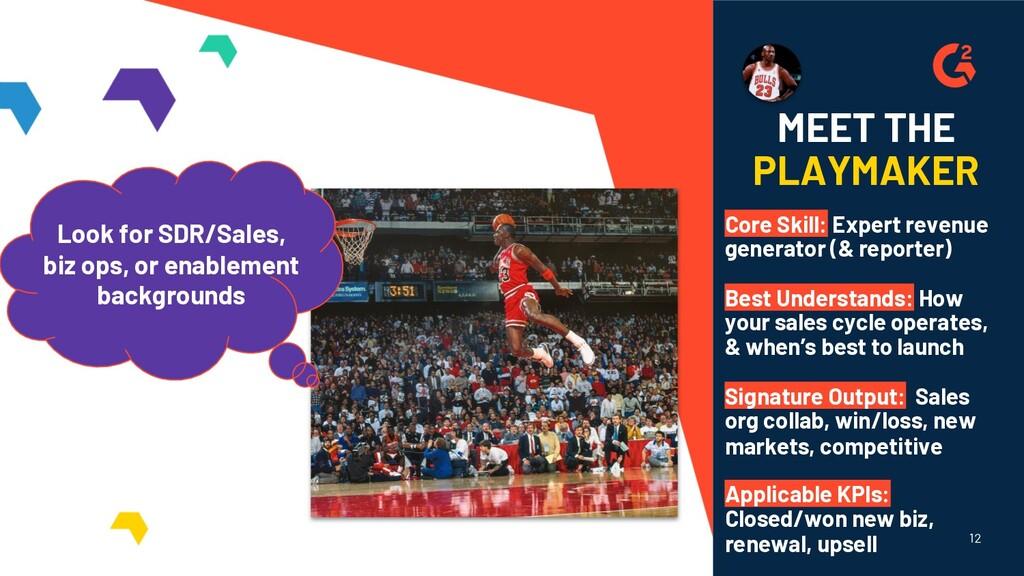 12 MEET THE PLAYMAKER Core Skill: Expert revenu...