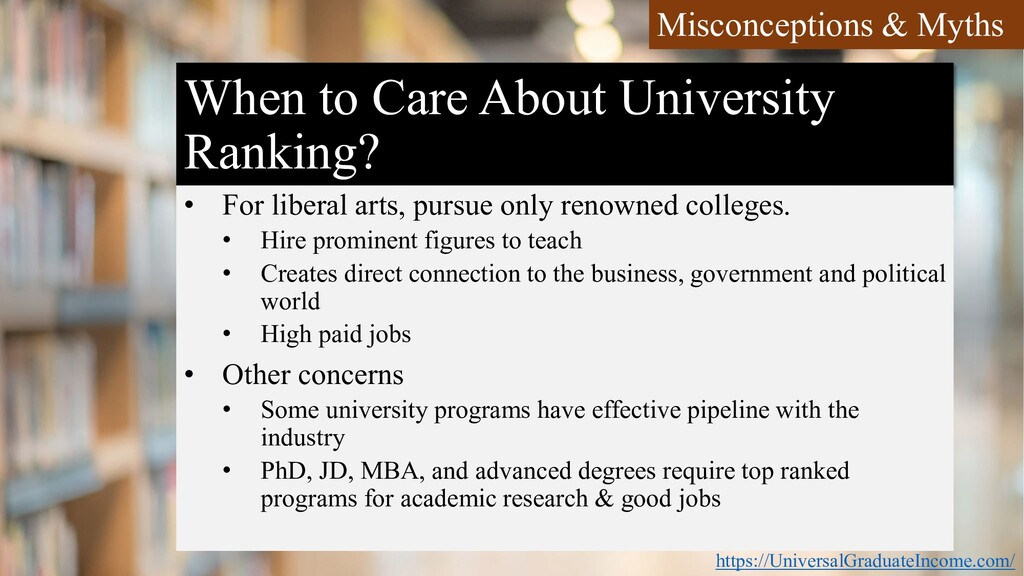 When to Care About University Ranking? • For li...