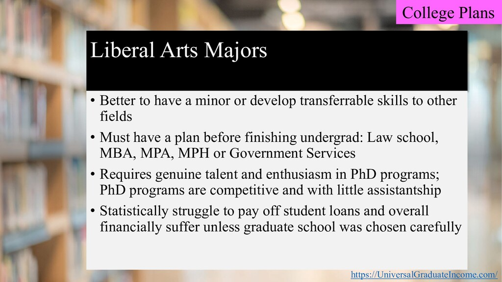Liberal Arts Majors • Better to have a minor or...