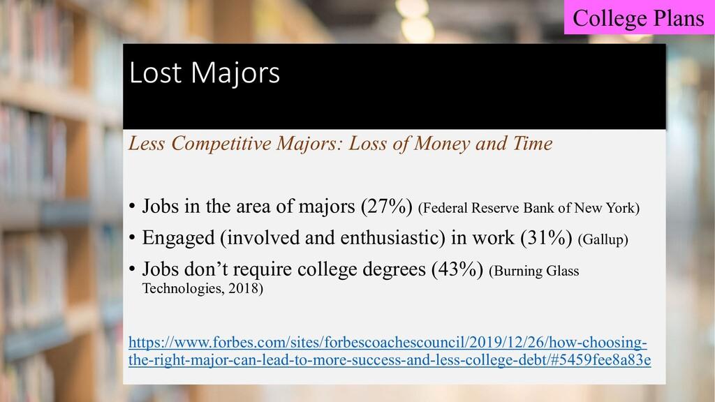 Lost Majors Less Competitive Majors: Loss of Mo...