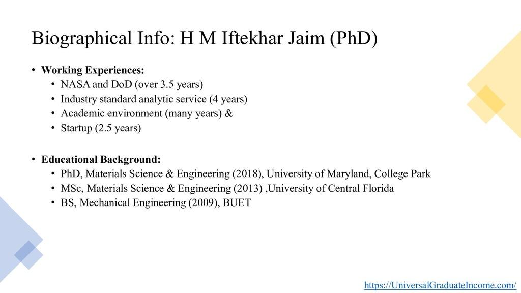 Biographical Info: H M Iftekhar Jaim (PhD) • Wo...