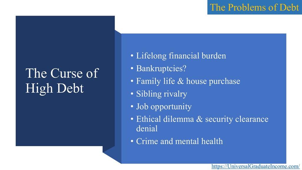 The Curse of High Debt • Lifelong financial bur...