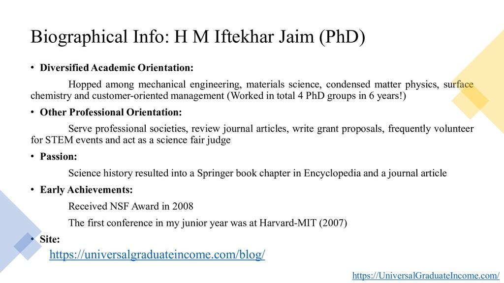 Biographical Info: H M Iftekhar Jaim (PhD) • Di...