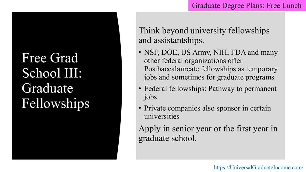 Free Grad School III: Graduate Fellowships http...