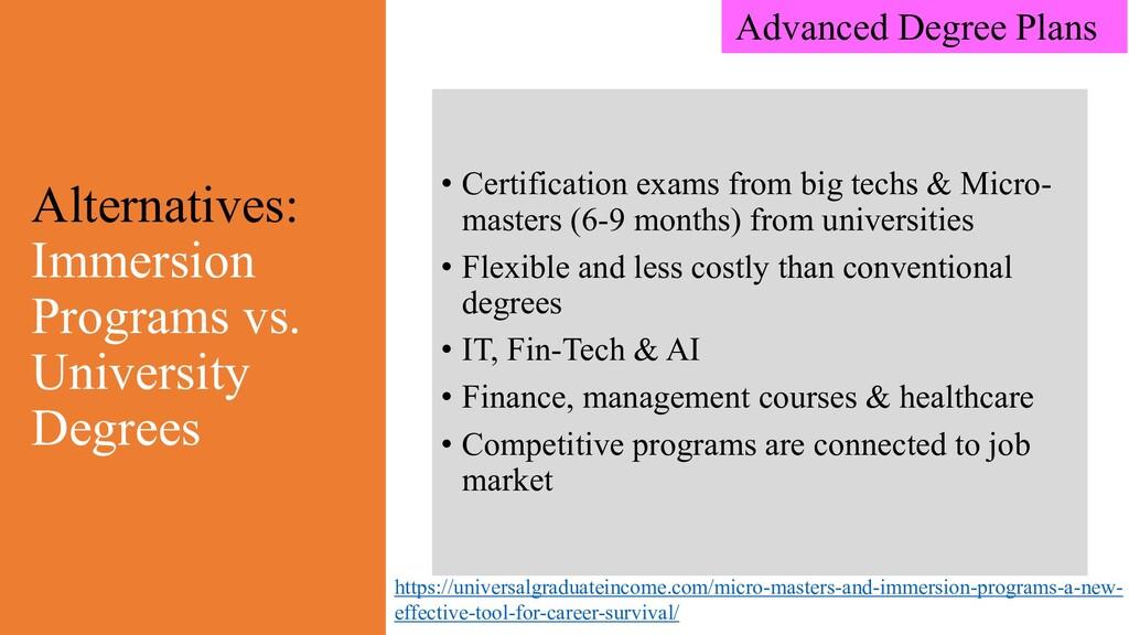 Alternatives: Immersion Programs vs. University...