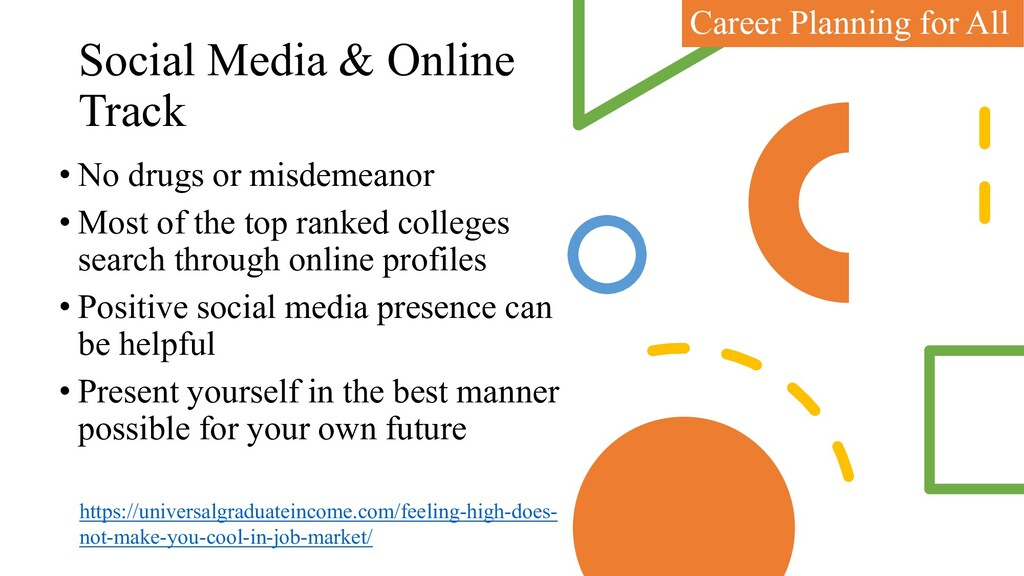 Social Media & Online Track • No drugs or misde...
