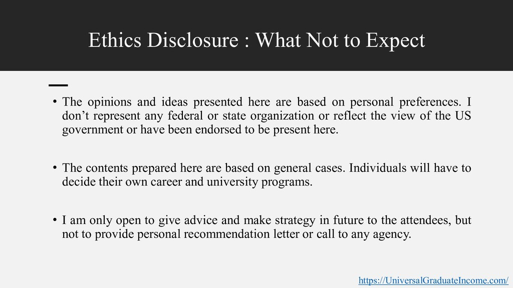 Ethics Disclosure : What Not to Expect • The op...