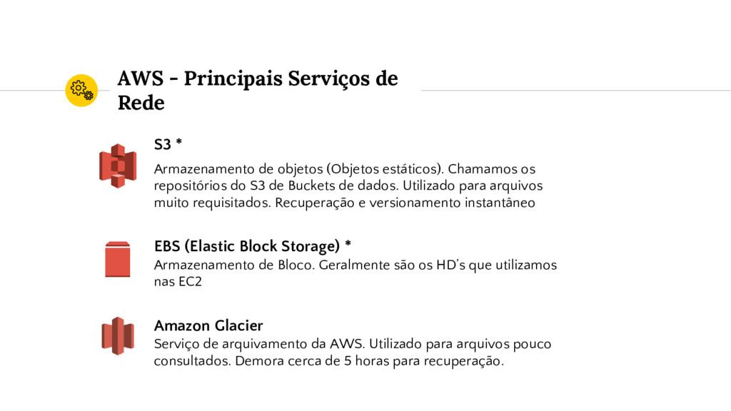AWS - Principais Serviços de Rede S3 * Armazena...