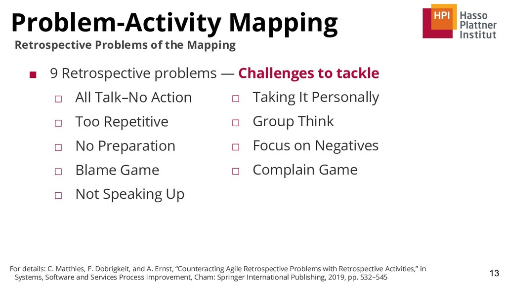 Problem-Activity Mapping 13 Retrospective Probl...