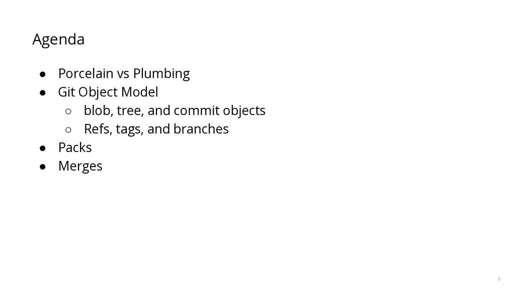 3 Agenda ● Porcelain vs Plumbing ● Git Object M...