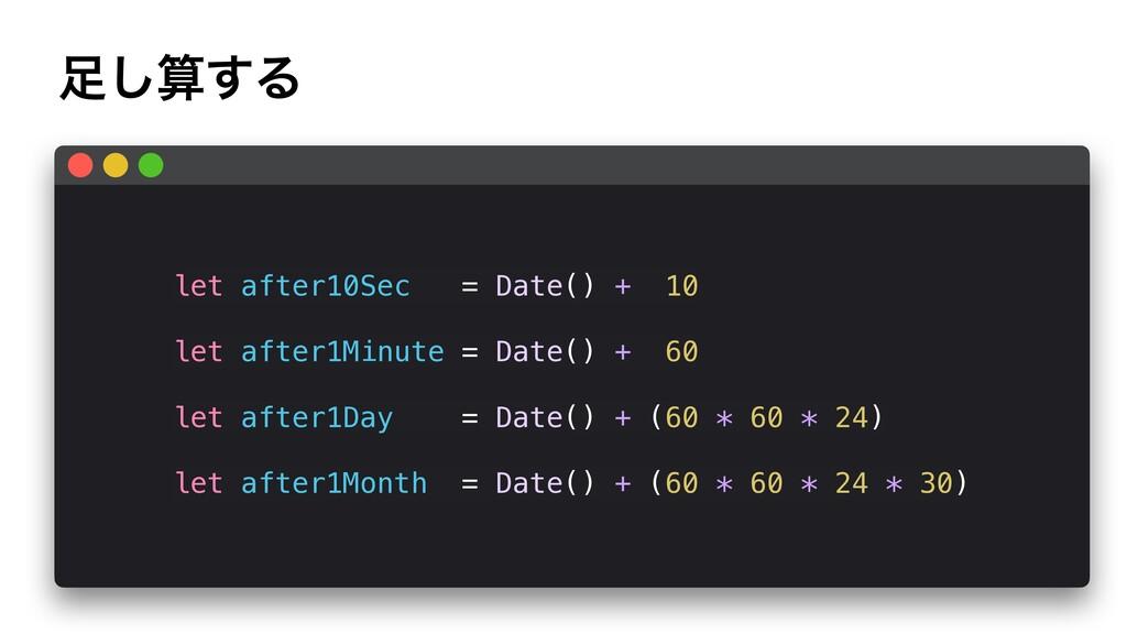 ͢͠Δ let after10Sec = Date() + 10 let after1Mi...