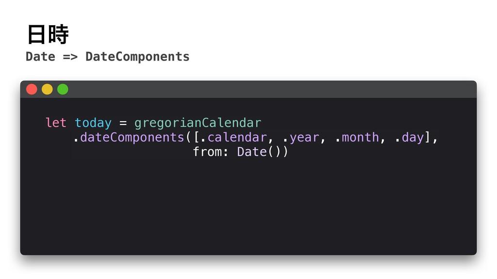  Date => DateComponents let today = gregorian...