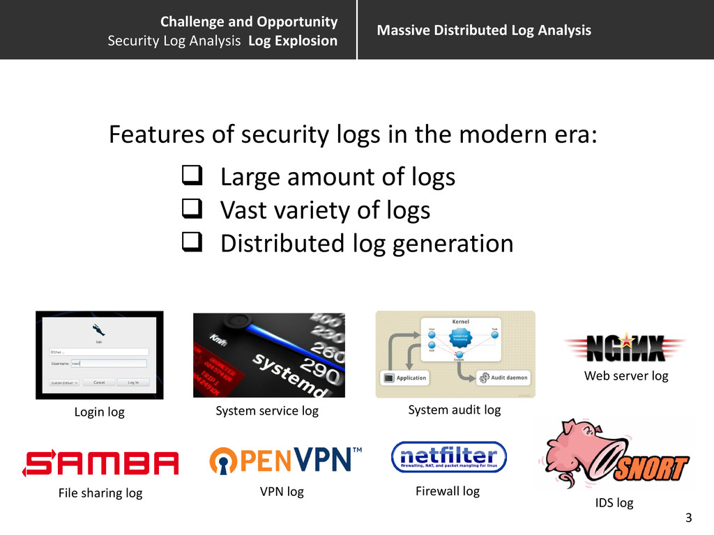 Massive Distributed Log Analysis 3 Login log Sy...