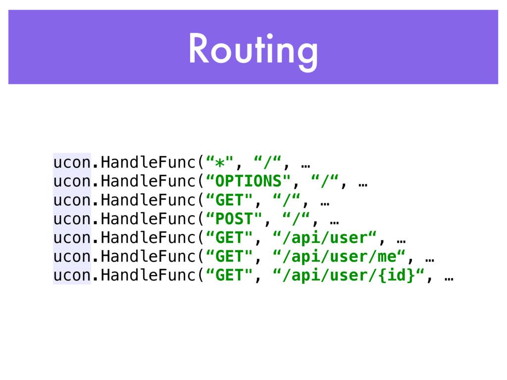 """Routing ucon.HandleFunc(""""*"""", """"/"""", … ucon.Handle..."""