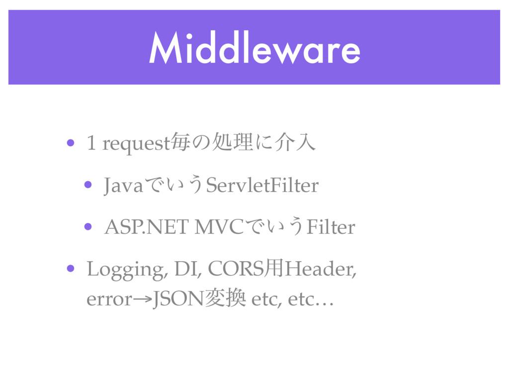 Middleware • 1 requestຖͷॲཧʹհೖ • JavaͰ͍͏ServletF...