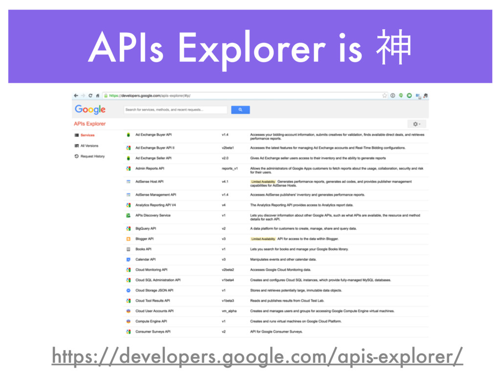 APIs Explorer is ਆ https://developers.google.co...