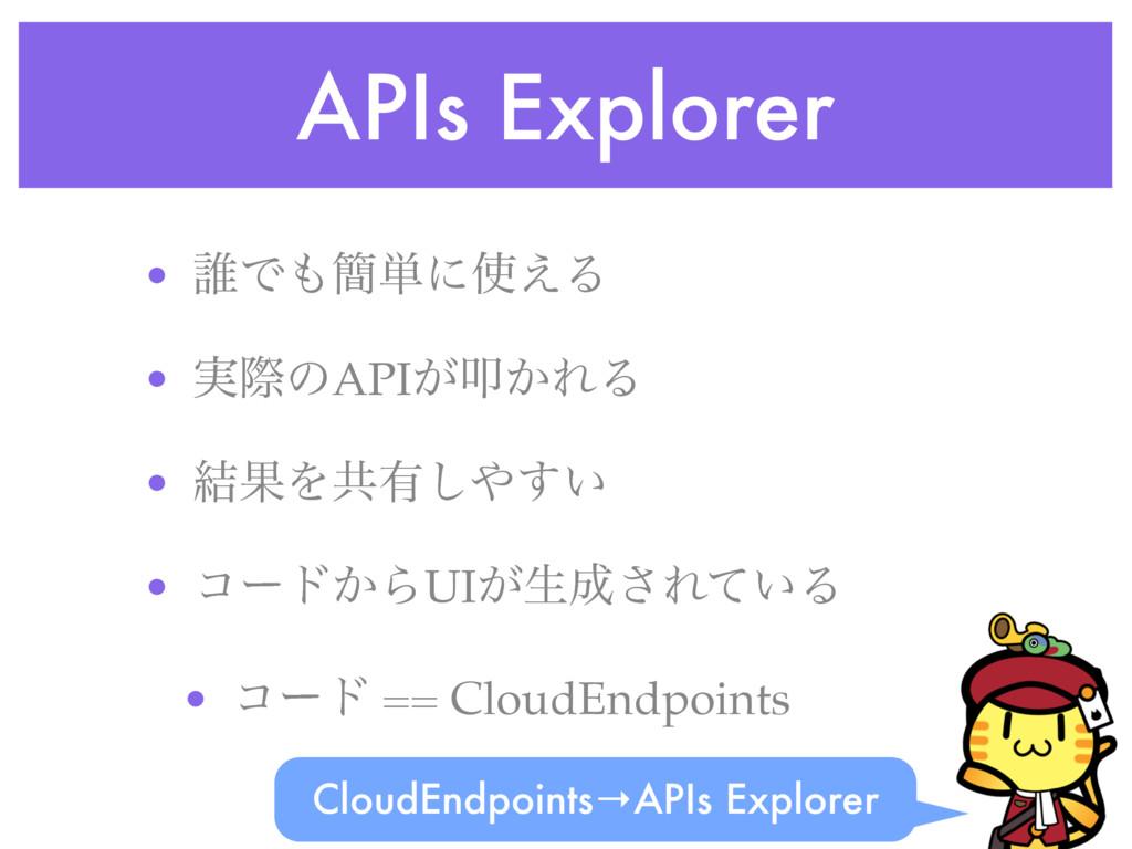 APIs Explorer • ୭Ͱ؆୯ʹ͑Δ • ࣮ࡍͷAPI͕ୟ͔ΕΔ • ݁ՌΛڞ༗...