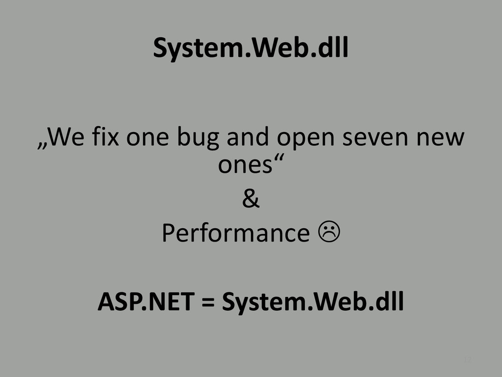 """System.Web.dll """"We fix one bug and open seven n..."""