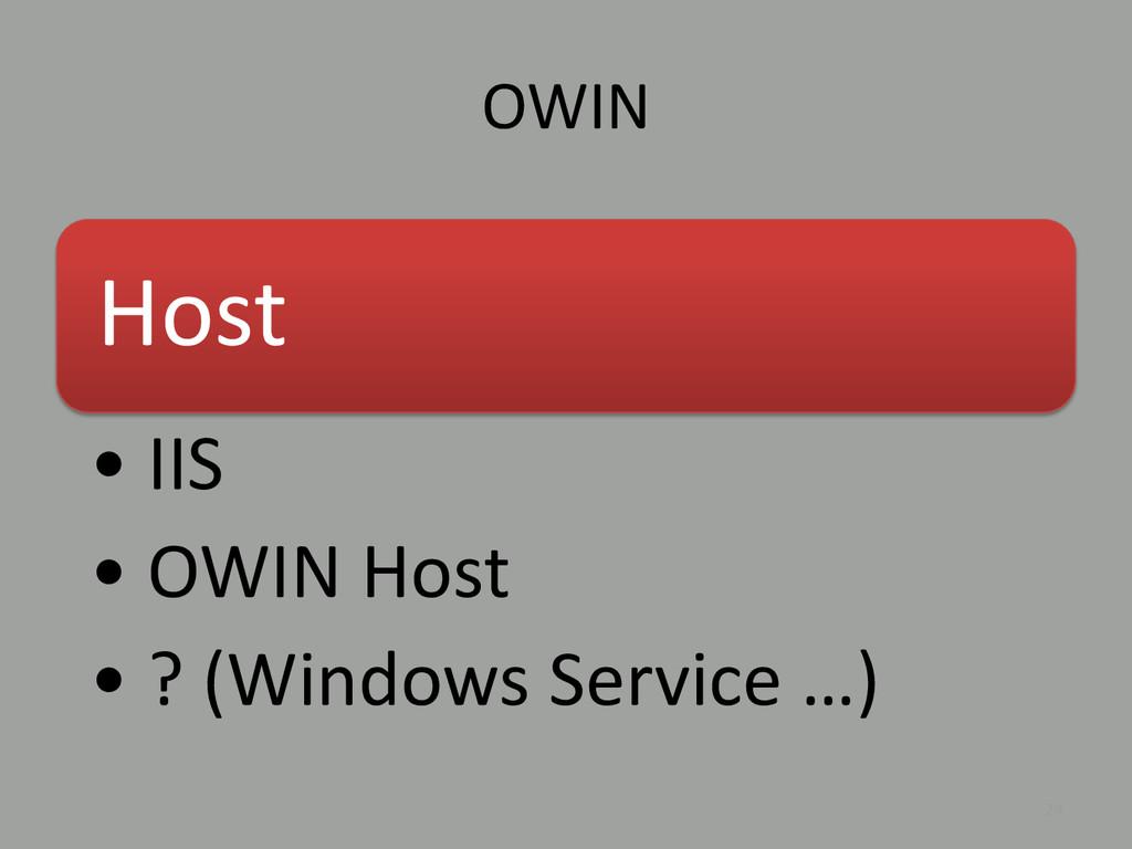 OWIN 24 Host • IIS • OWIN Host • ? (Windows Ser...