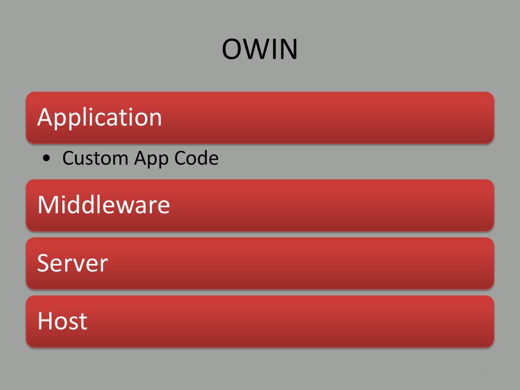 OWIN 27 Application • Custom App Code Middlewar...