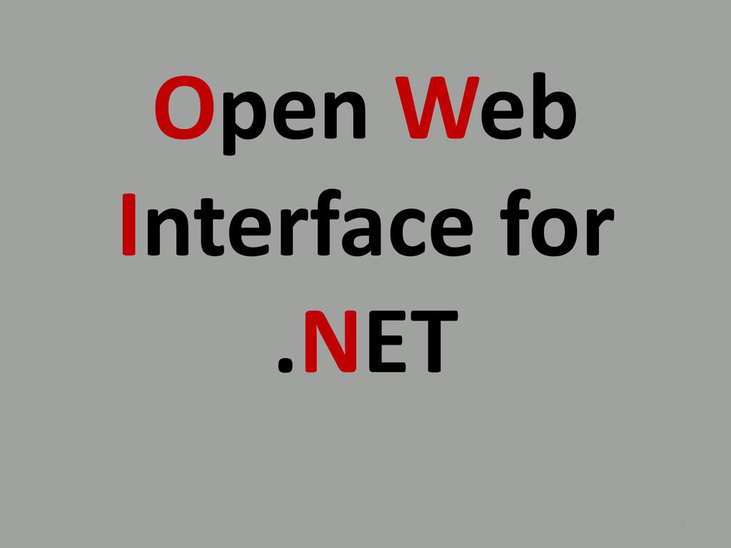 Open Web Interface for .NET 6