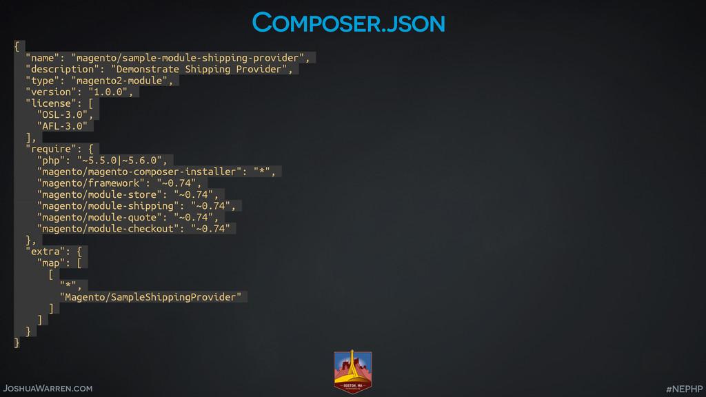 """JoshuaWarren.com #NEPHP Composer.json { """"name"""":..."""