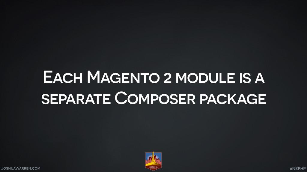 JoshuaWarren.com Each Magento 2 module is a sep...