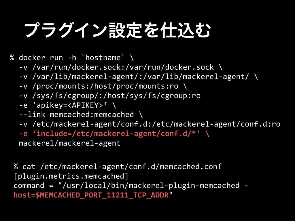 ϓϥάΠϯઃఆΛࠐΉ % docker run -‐h `hostname` \...