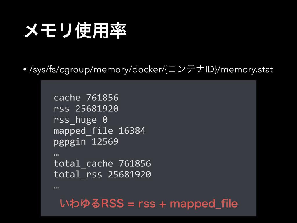 ϝϞϦ༻ • /sys/fs/cgroup/memory/docker/{ίϯςφID}/...