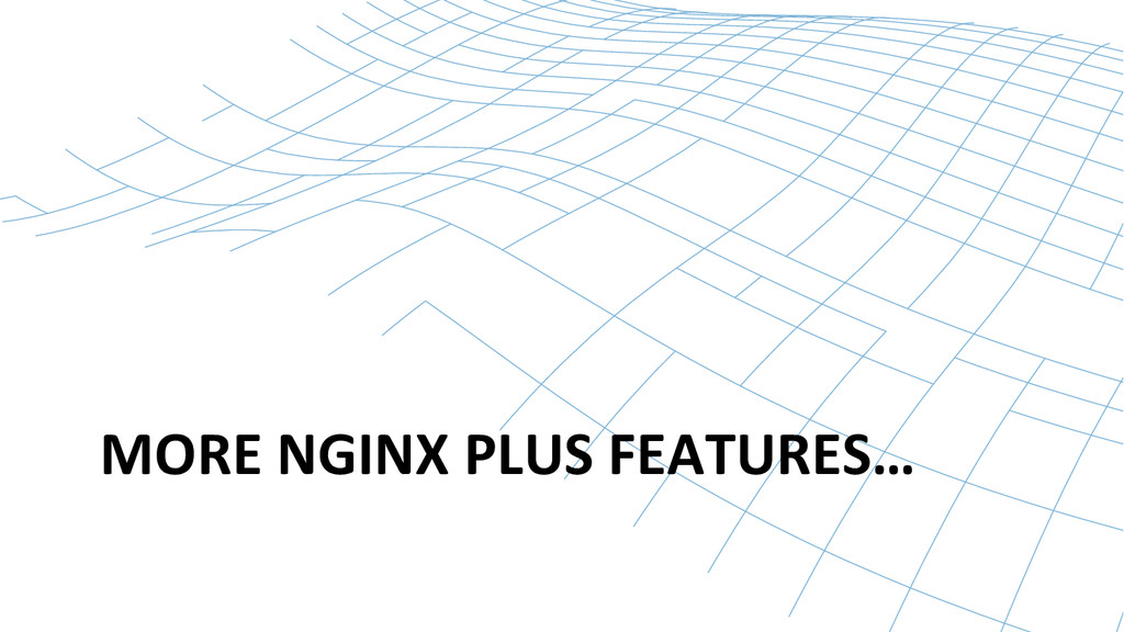 MORE NGINX PLUS FEATURES…