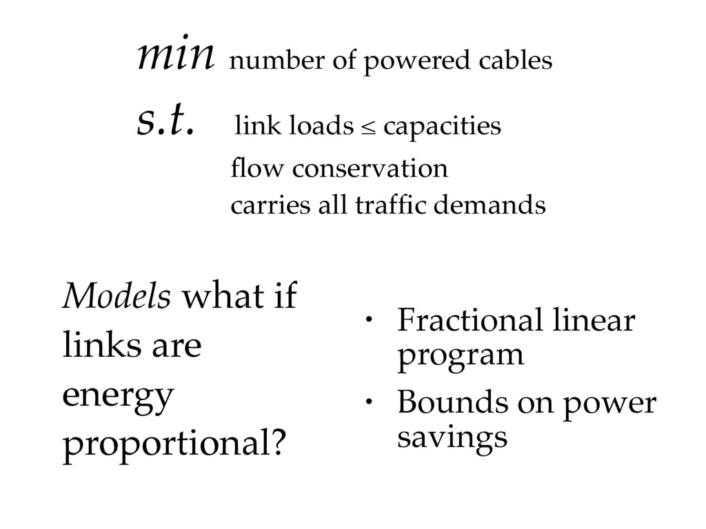 min number of powered cables s.t. link loads ≤ ...