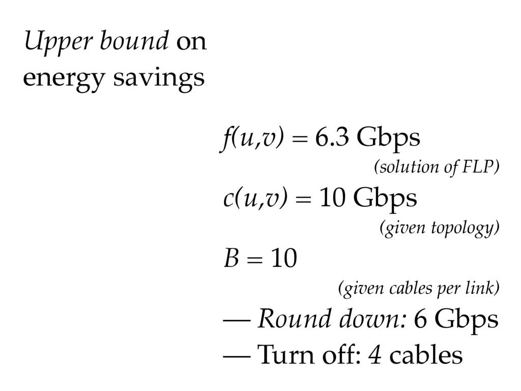 Upper bound on energy savings f(u,v) = 6.3 Gbps...