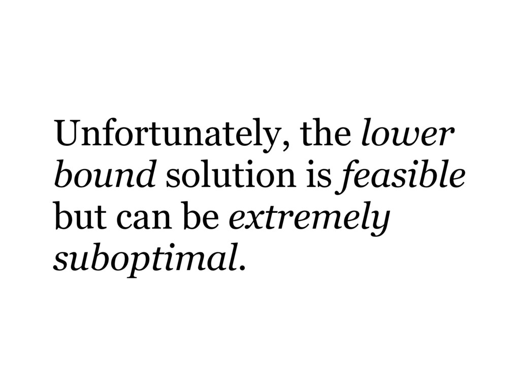 Unfortunately, the lower bound solution is feas...
