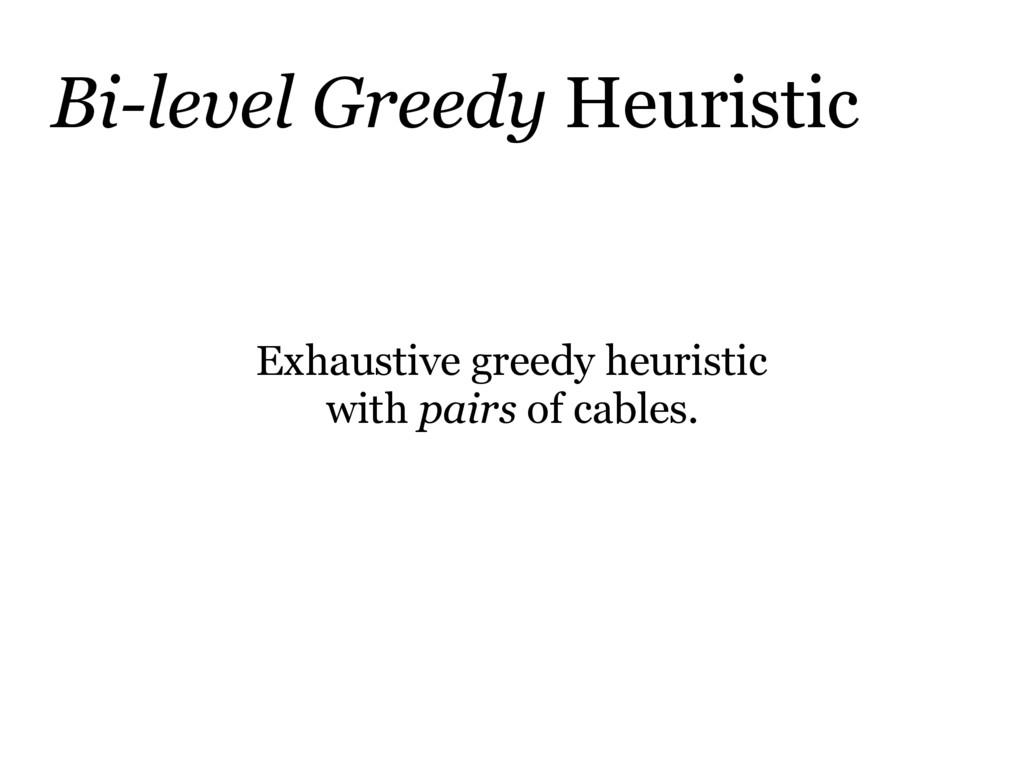 Bi-level Greedy Heuristic Exhaustive greedy heu...