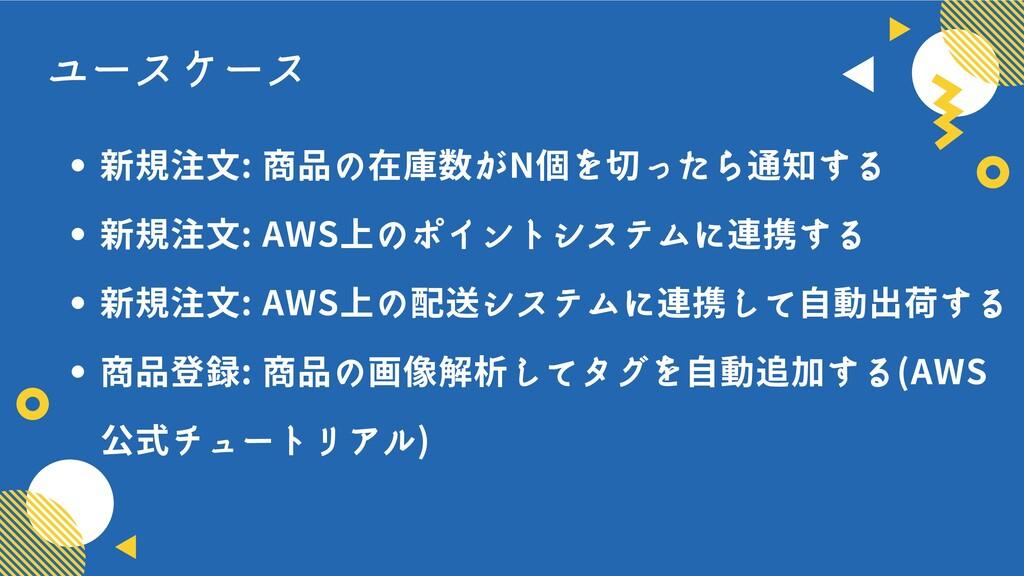 ユースケース 新規注文: 商品の在庫数がN個を切ったら通知する 新規注文: AWS上のポイント...