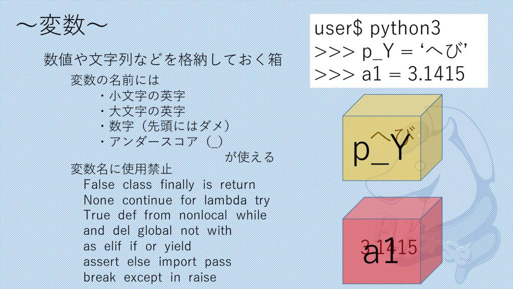 〜変数〜 数値や⽂字列などを格納しておく箱 user$ python3 >>> p_Y = ʻ...