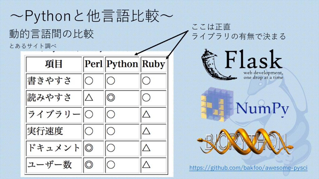 〜Pythonと他⾔語⽐較〜 動的⾔語間の⽐較 とあるサイト調べ ここは正直 ライブラリの有無...