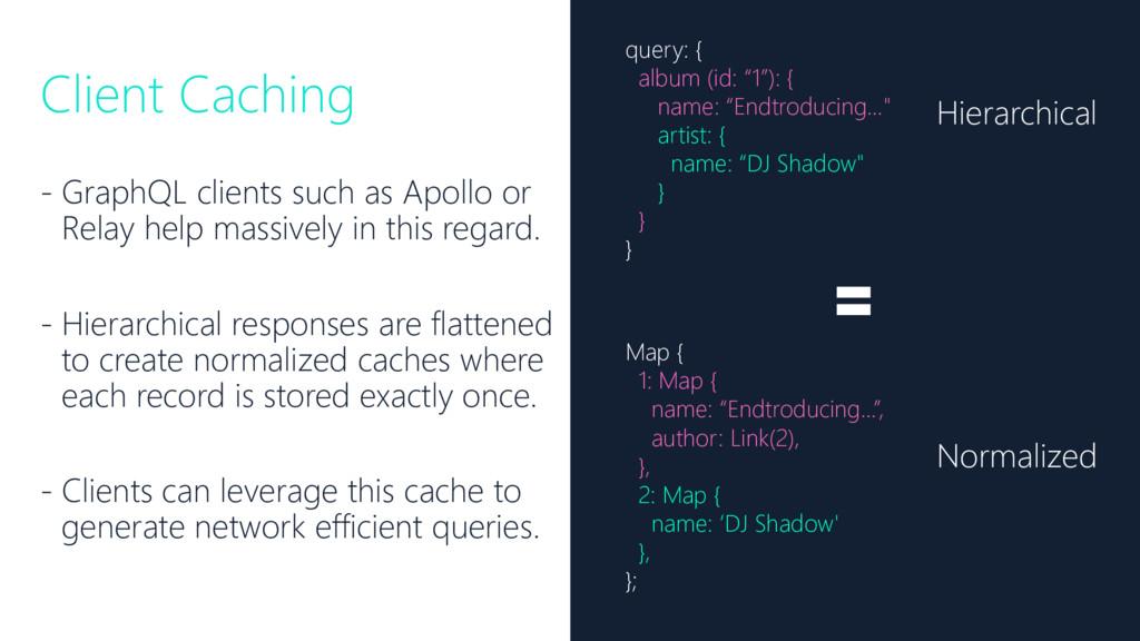 Client Caching - GraphQL clients such as Apollo...