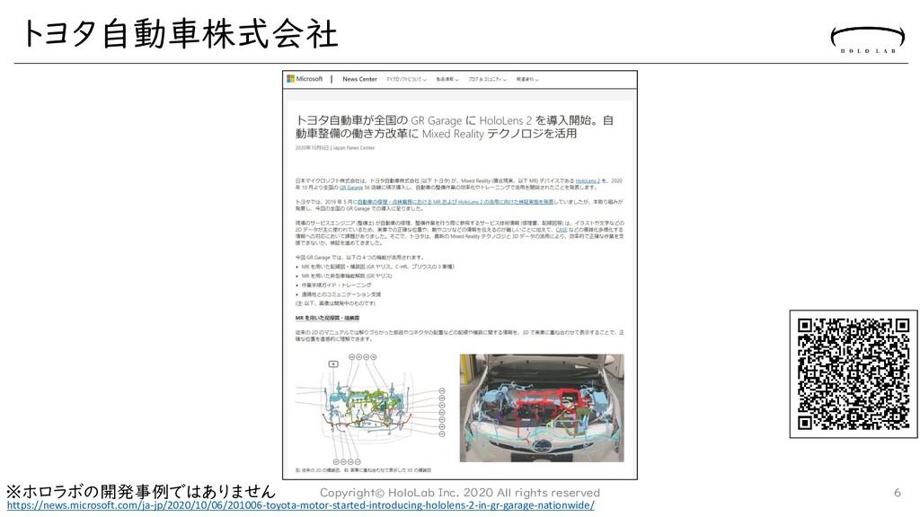 トヨタ自動車株式会社 Copyright© HoloLab Inc. 2020 All rig...