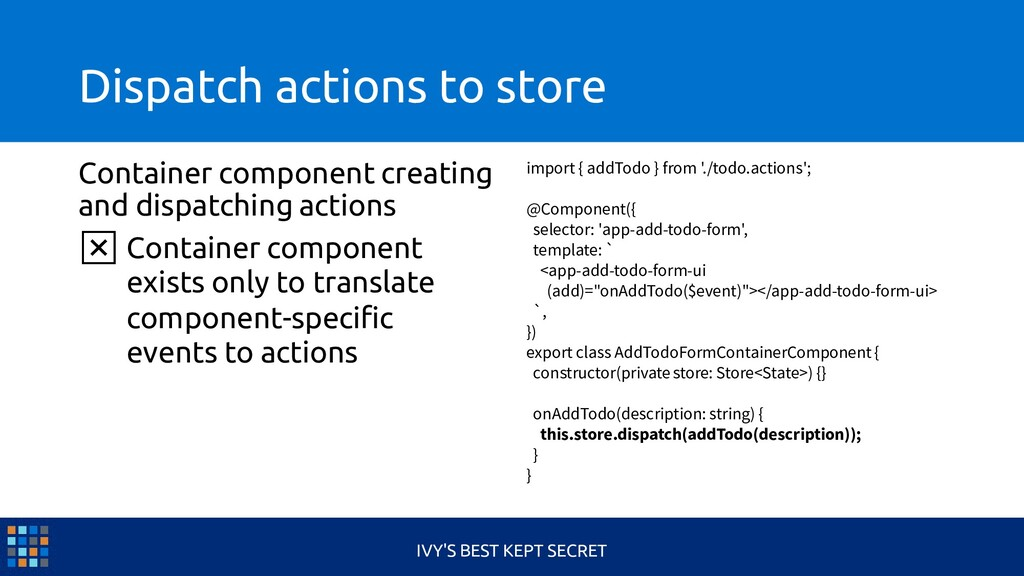 Dispatch actions to store Container component c...