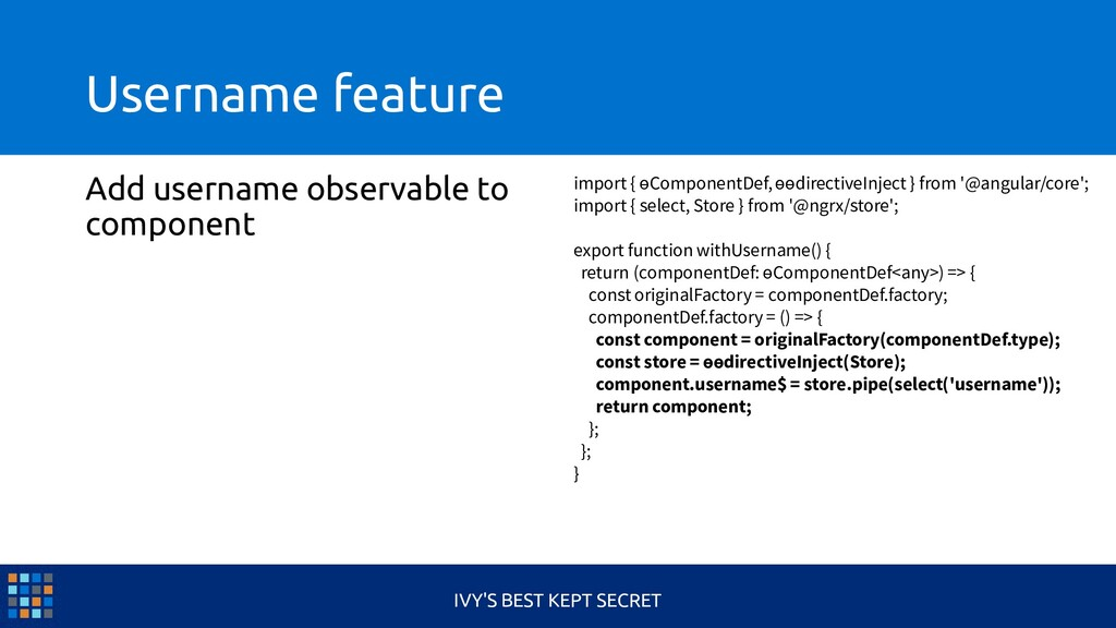 Username feature Add username observable to com...