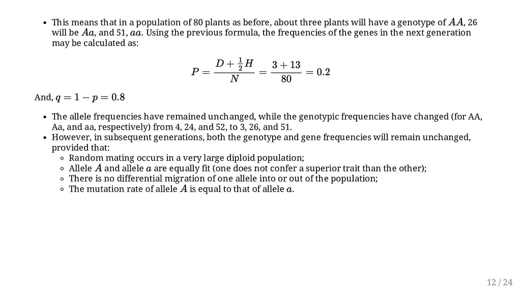 This means that in a population of 80 plants as...