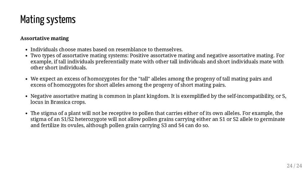 Mating systems Assortative mating Individuals c...